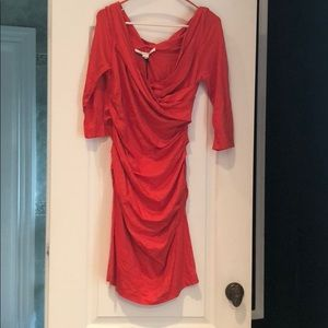 Brand new very flattering DVF red/orange dress